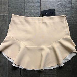 NEW Zara Beige Ruffle Raw Hem Mini Skirt L